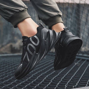 Men Black Fabric Solid Running Shoes - vezzmart