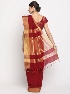 Women's Beautiful Red Solid Chanderi Cotton Saree with Blouse piece - vezzmart