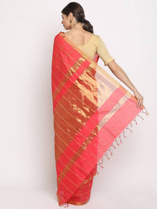 Women's Beautiful Red Checked Chanderi Cotton Saree with Blouse piece - vezzmart