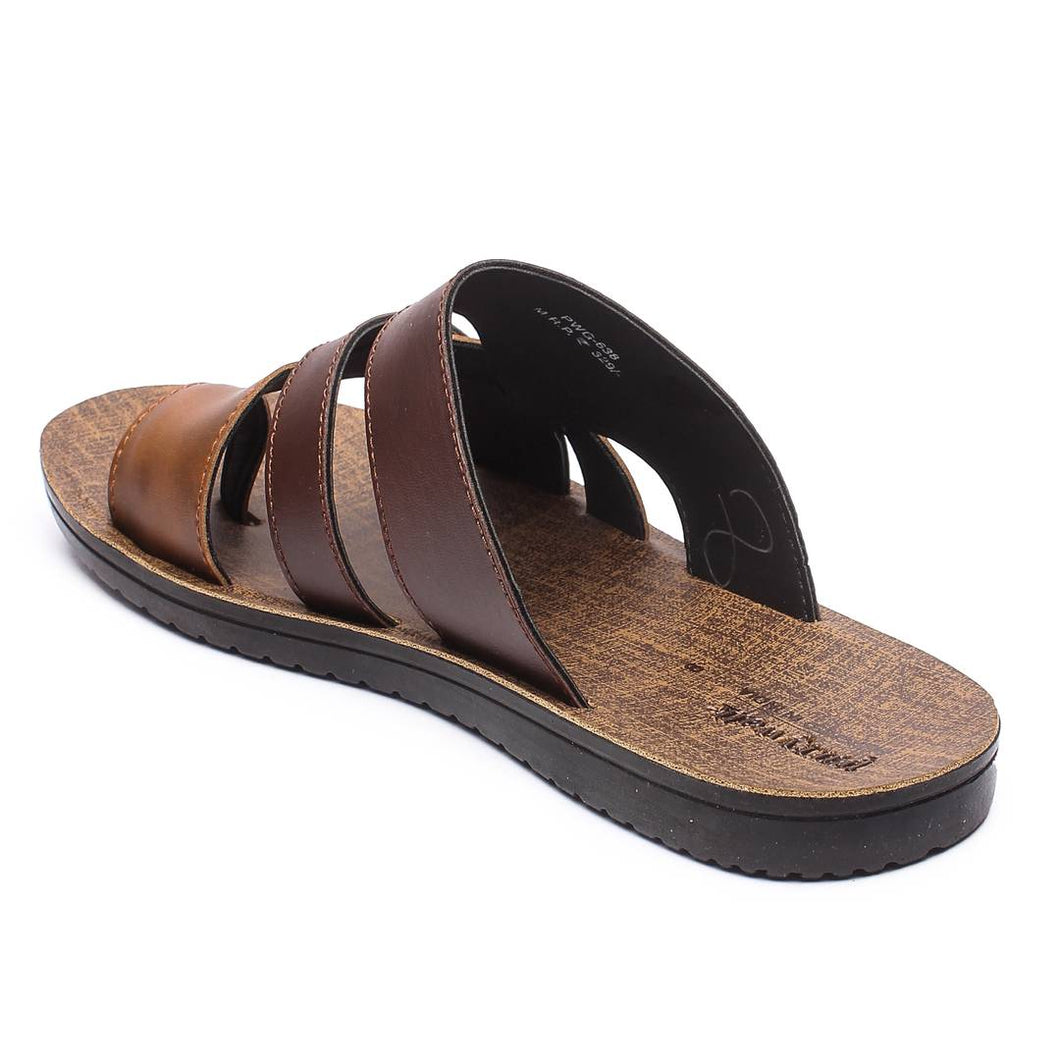 Men Brown Synthetic Solid Sandals - vezzmart