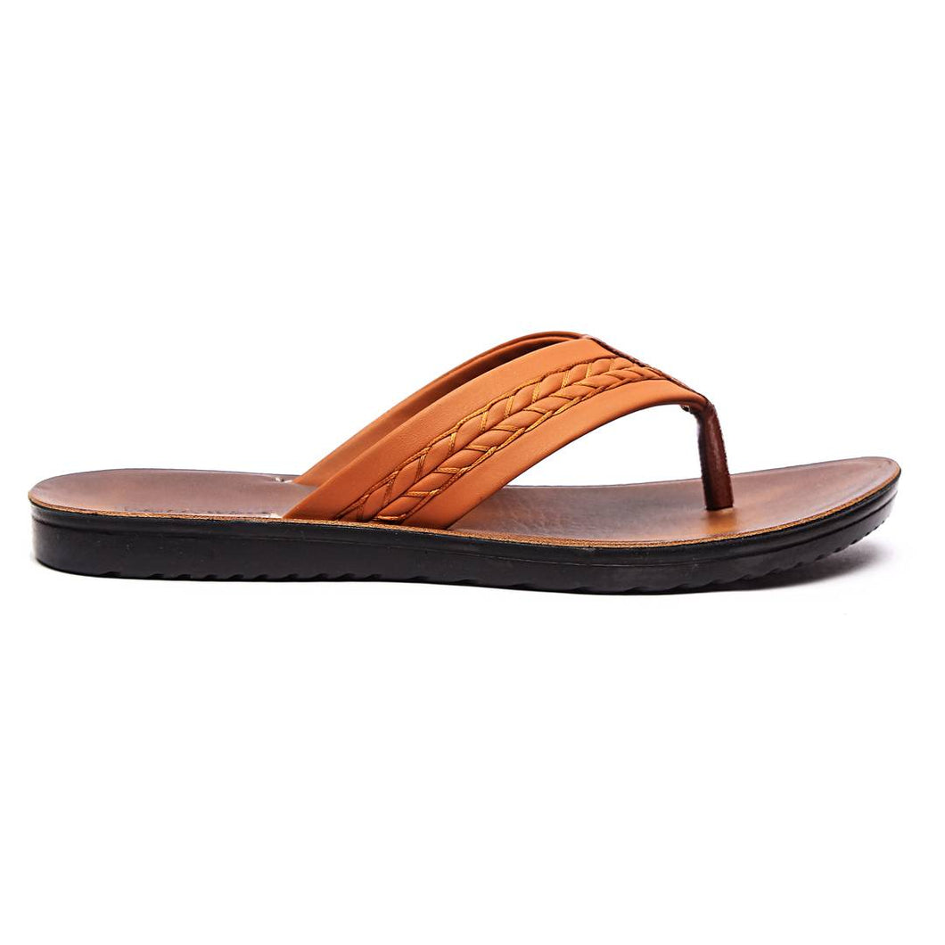 Men Tan Synthetic Solid Sandals - vezzmart