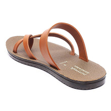 Load image into Gallery viewer, Men Tan Synthetic Solid Sandals - vezzmart