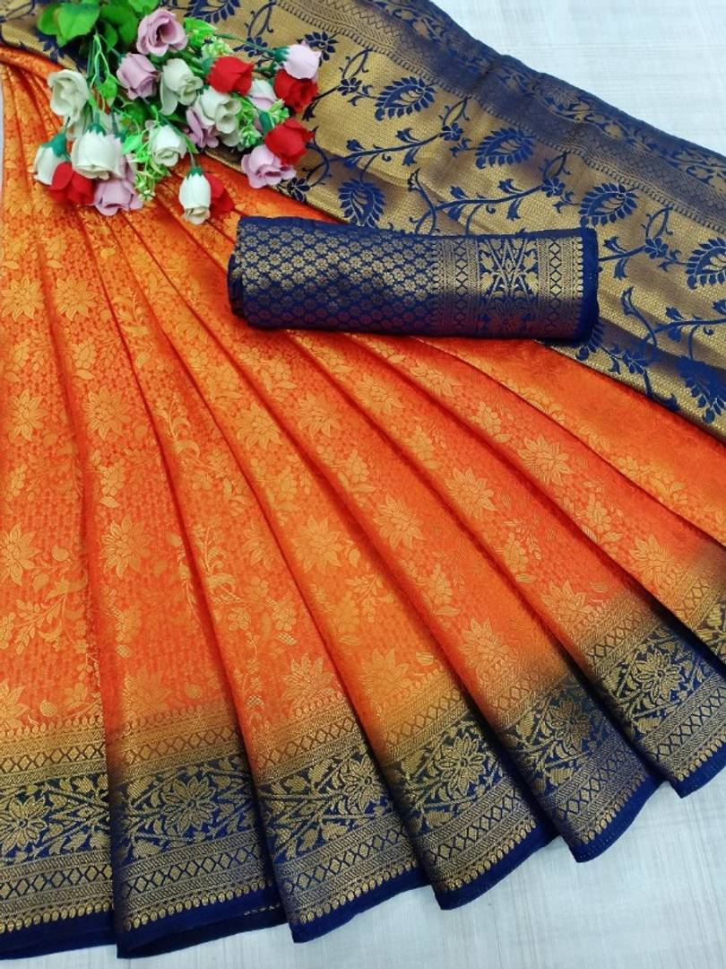 Heavy Banarasi Silk Saree with Designer Jari Weaving Heavy Pallu - vezzmart