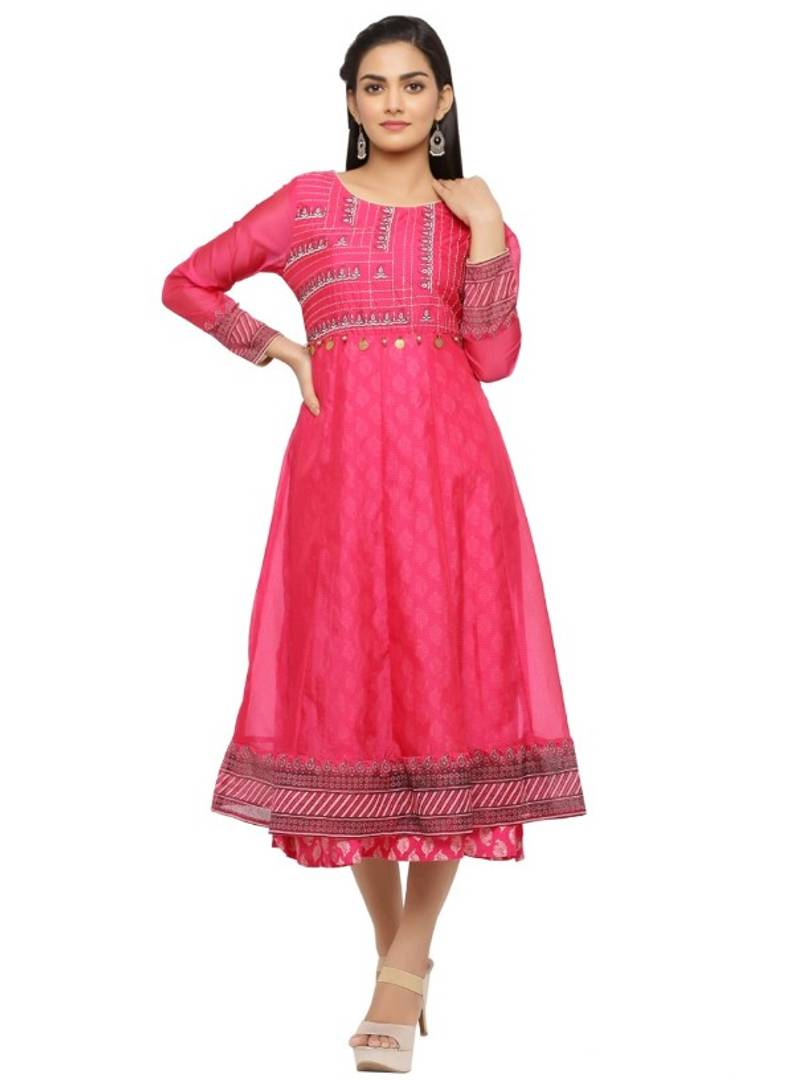 Stylish Pink Chanderi Embroidered Anarkali Kurti For Women - vezzmart