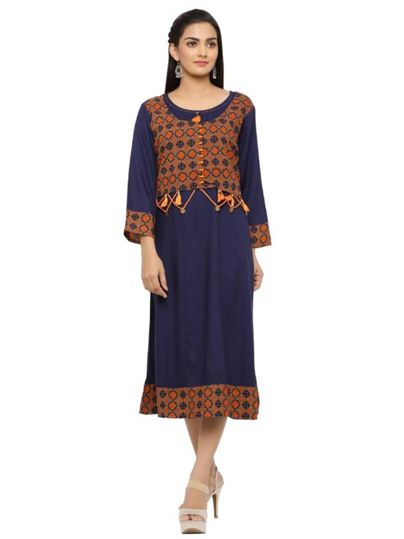 Stylish Navy Blue Rayon Printed Kurti For Women - vezzmart