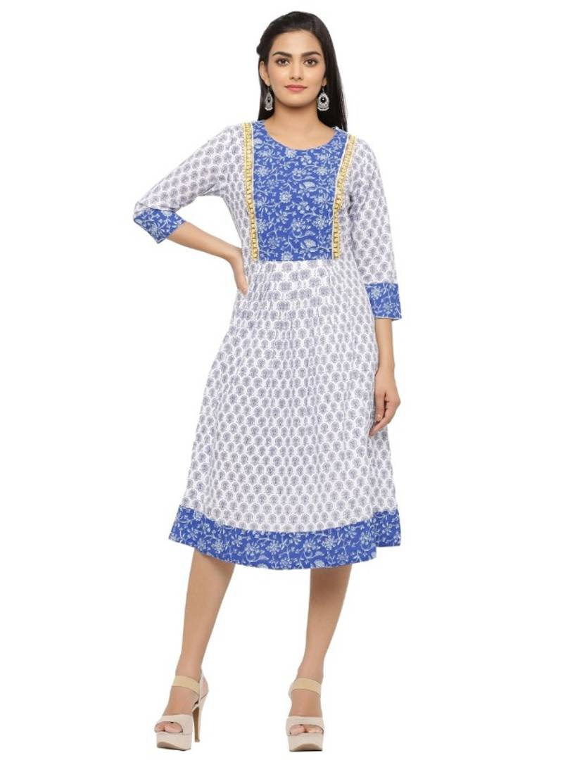 Stylish Multicoloured Cotton Printed Kurti For Women - vezzmart