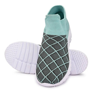 Women's Stylish and Trendy Multicoloured Self Design Knitted Fabric Casual Sports Shoes - vezzmart