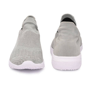 Women's Stylish and Trendy Grey Solid Knitted Fabric Casual Sports Shoes - vezzmart