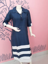 Load image into Gallery viewer, Stylish Cotton Navy Blue Solid Kurta For Women - vezzmart