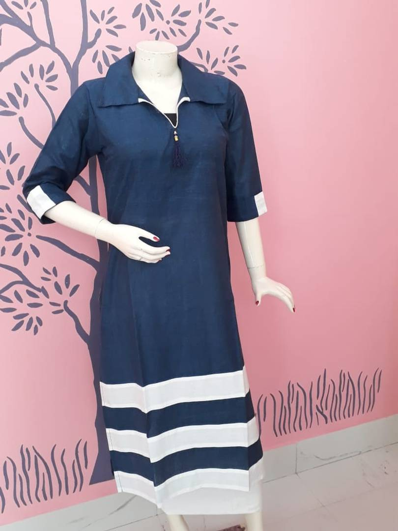 Stylish Cotton Navy Blue Solid Kurta For Women - vezzmart