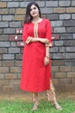 Load image into Gallery viewer, Elegant Red Cotton Straight Women Kurti with Pant - vezzmart