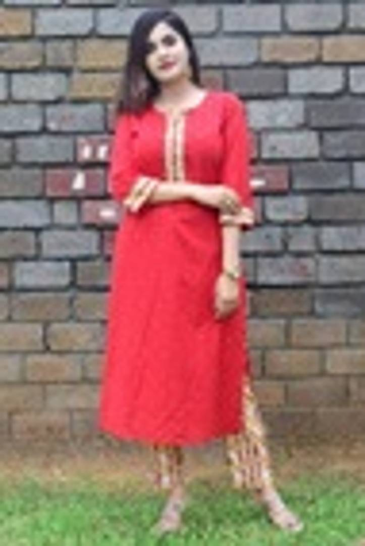 Elegant Red Cotton Straight Women Kurti with Pant - vezzmart