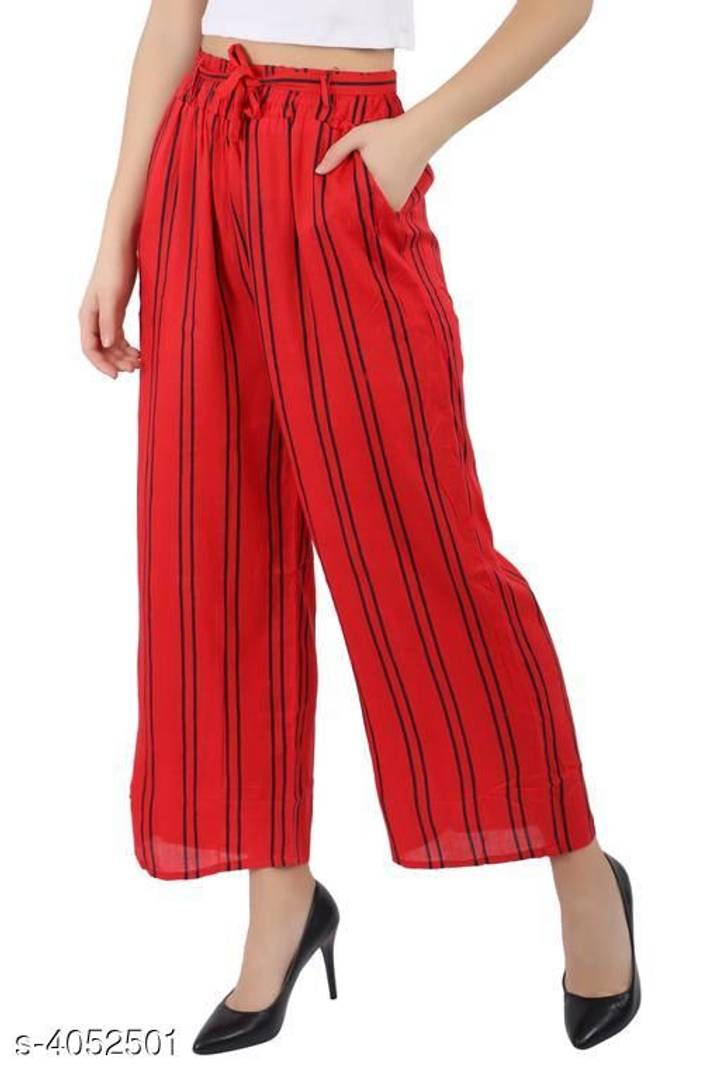 Women's Red Striped Rayon Trousers Palazzo - vezzmart
