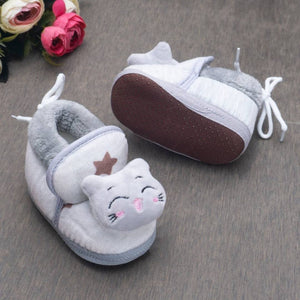 Round Toed Cat Face Applique Textured  Soft Slip on Booties-Grey - vezzmart