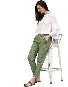 Stylish Cotton Green Solid Trouser For Women - vezzmart