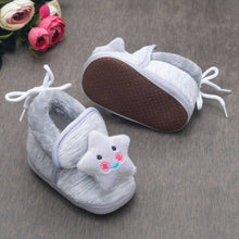 Load image into Gallery viewer, Round Toed Star Applique Textured  Soft Slip on Booties-Grey - vezzmart
