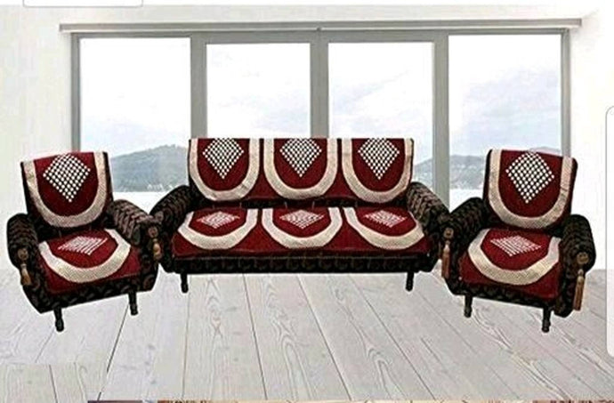 Premium Maroon Cotton Acrylic Printed 5 Seater Sofa Cover Set - vezzmart
