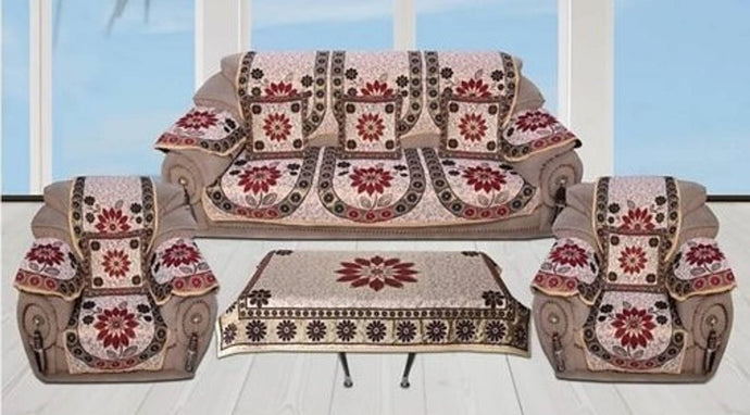 Versatile Cotton Printed Sofa Cover And Table Cover With Cushion Covers Set - vezzmart