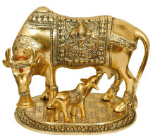 Load image into Gallery viewer, Large Gold Cow And Calf Metal Statue - vezzmart