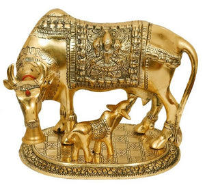 Large Gold Cow And Calf Metal Statue - vezzmart