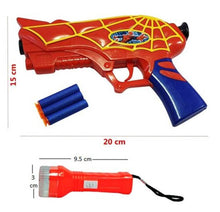 Load image into Gallery viewer, SFR Spider-Man Gun with 3 Soft Bullets Toys for Kids & Detective Light Combo (Red) - vezzmart