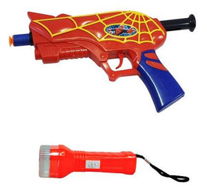 SFR Spider-Man Gun with 3 Soft Bullets Toys for Kids & Detective Light Combo (Red) - vezzmart