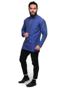 Cotton Blend Short Hand Printed Kurta For Men - vezzmart