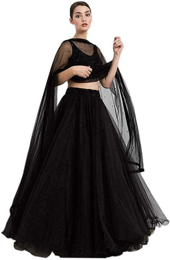 Ramcrupa Creation Women's soft net fashion Lehenga Choli (Free Size, Black) - vezzmart