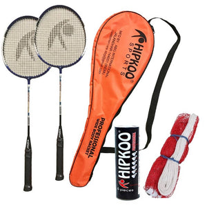 Hipkoo Sports Professional Badminton Kit (Wide Body Rackets Set Of 2, 6 Feather Shuttles and Net ) - vezzmart