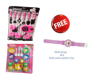 ADVANCED KITCHEN SET PINK WITH KITTY CUP SET MULTY FREE WATCH MULTY COLORS - vezzmart