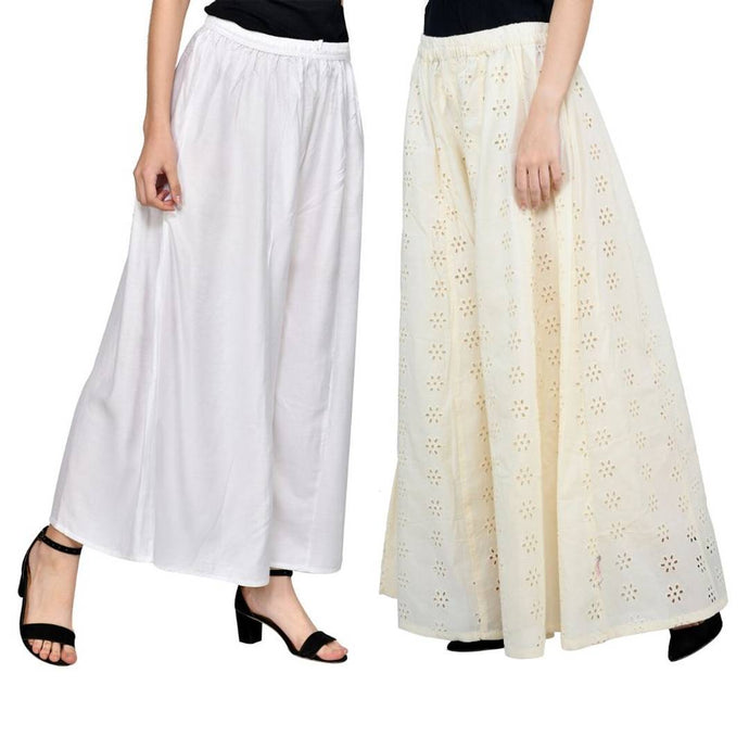 Stylish Rayon Chikankari Palazzo For Women ( Pack Of 2 ) - vezzmart