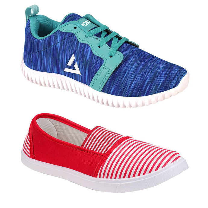 Women's Stylish and Trendy Multicoloured Self Design Mesh Casual Sports Shoes (Pack of 2) - vezzmart
