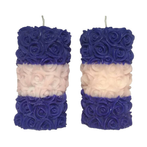 Rose Pillar Designer Decorative Scented Candle, Blue & White Colour with Mix Fruit & Strawberry Fragrance - vezzmart