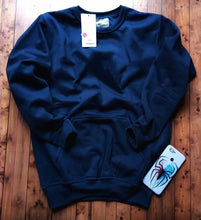 Load image into Gallery viewer, Elite Navy Blue Cotton Solid Pullover Sweatshirts For Men - vezzmart