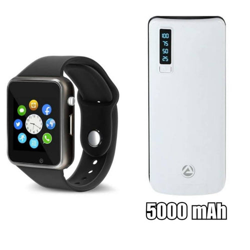 A1 Smartwatch With 5000mAh Power Bank Assorted Colour - vezzmart