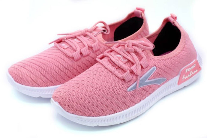 Women Synthetic Leather Pink Casual Sneaker - vezzmart