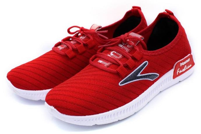 Women Synthetic Leather Red Casual Sneaker - vezzmart
