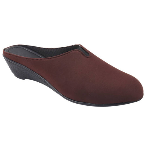 Women's Stylish Brown Synthetic Leather Mules - vezzmart