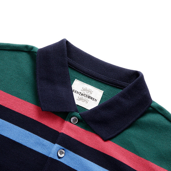 Striped Polo Shirt With Rose Patch