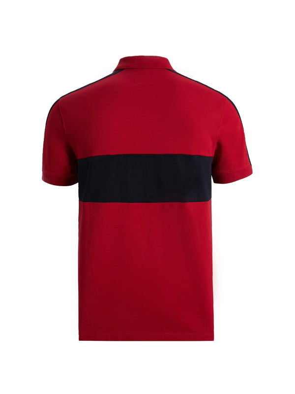 Red Colour Block Polo Shirt