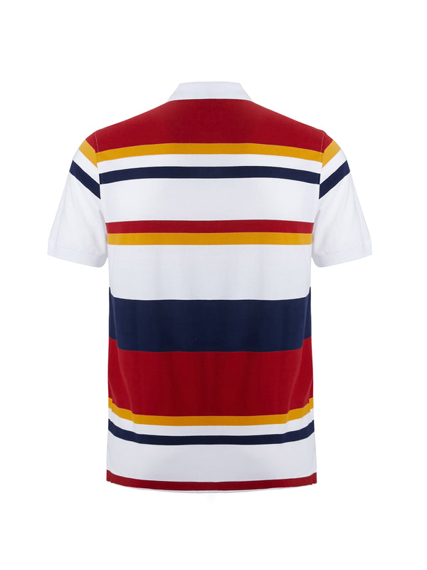 Striped Polo Shirt with Crest Embrodiery