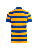 Rose-Applique Striped Polo Shirt