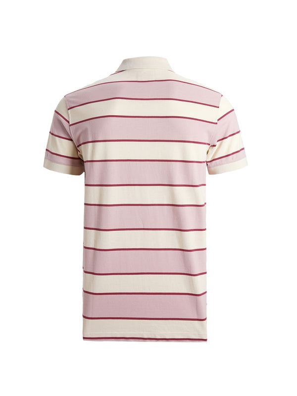 Coral Stripes Polo