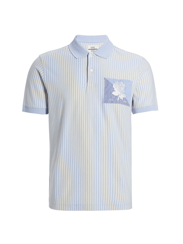 Light Blue Cotton Striped Polo Shirt
