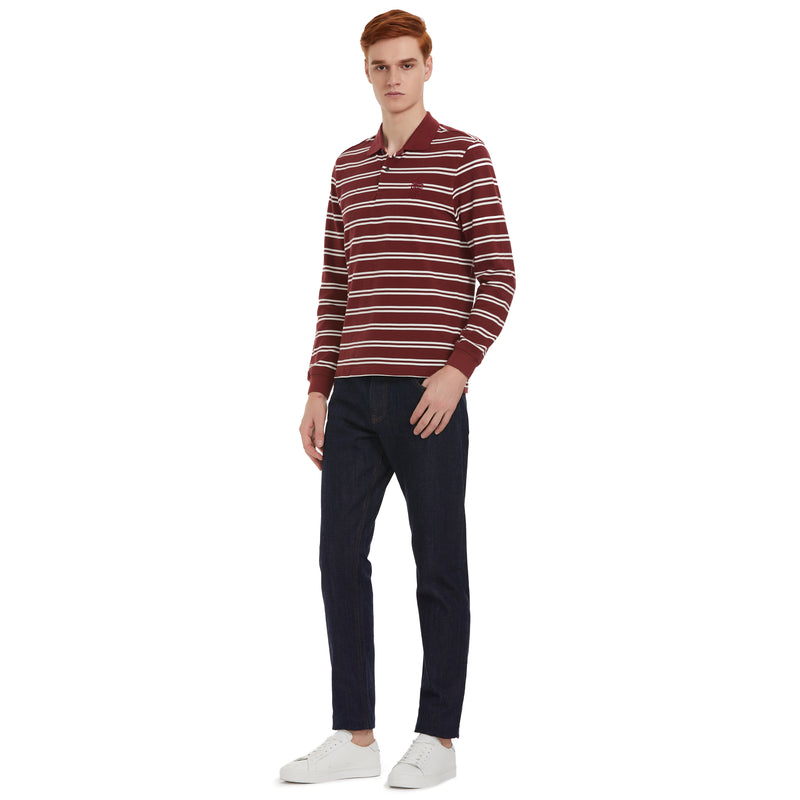 Striped Long-Sleeve Polo Shirt