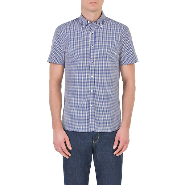 Blue short sleeve button down shirt