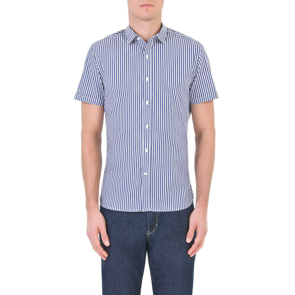 Blue short sleeve striped Shirt