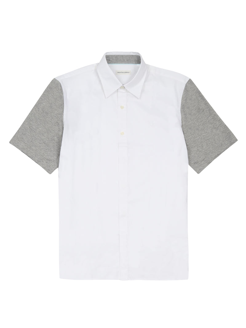 White Contrast Colour Short Sleeve Shirt
