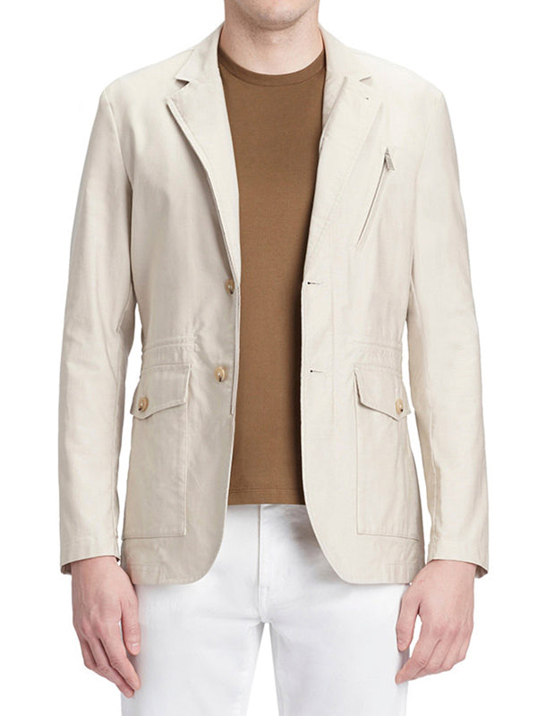 Multi-Pocket Fitted Blazer Jacket