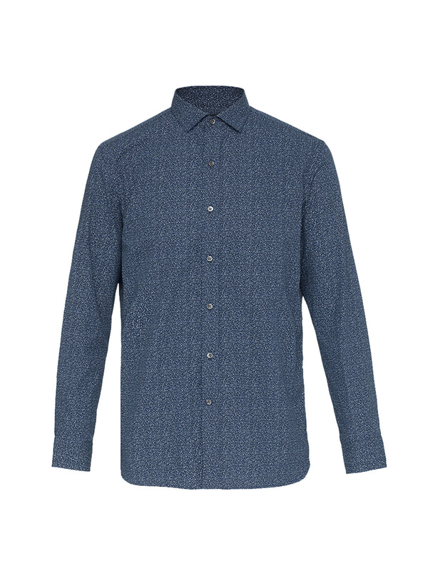 Blue Patterned Long Sleeve Shirt